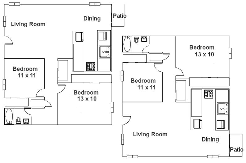 2 Bedroom Colonial 800